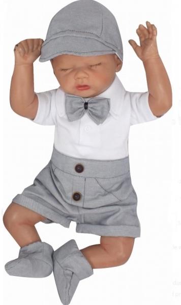 Z&Z 3-dílná sada Elegant Boy, body kr. rukáv, kraťásky a motýlek , šedá