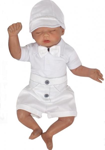 Z&Z 3-dílná sada Elegant Boy, body kr. rukáv, kraťásky a motýlek , bílá