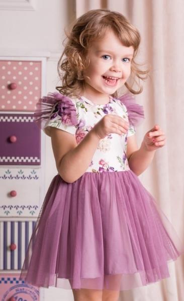 G-baby Letní šaty Květy s týlem - lila, vel. 98