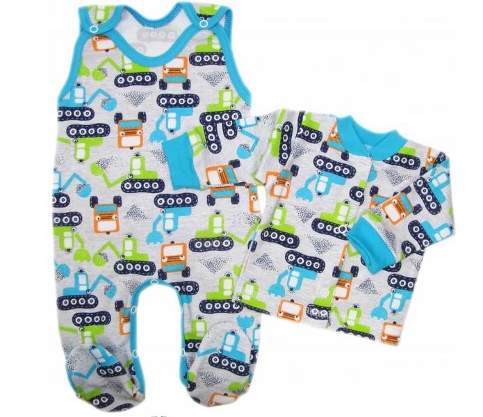 Baby Nellys  2-dílná sada, bavlněné dupačky s košilkou Bagr, šedá