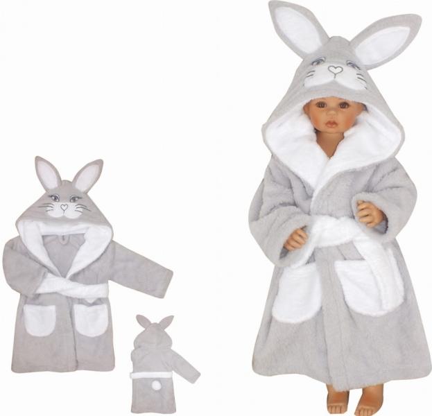 Z&Z Luxusní chlupáčkový župan s kapucí a páskem, Zajíček - šedý