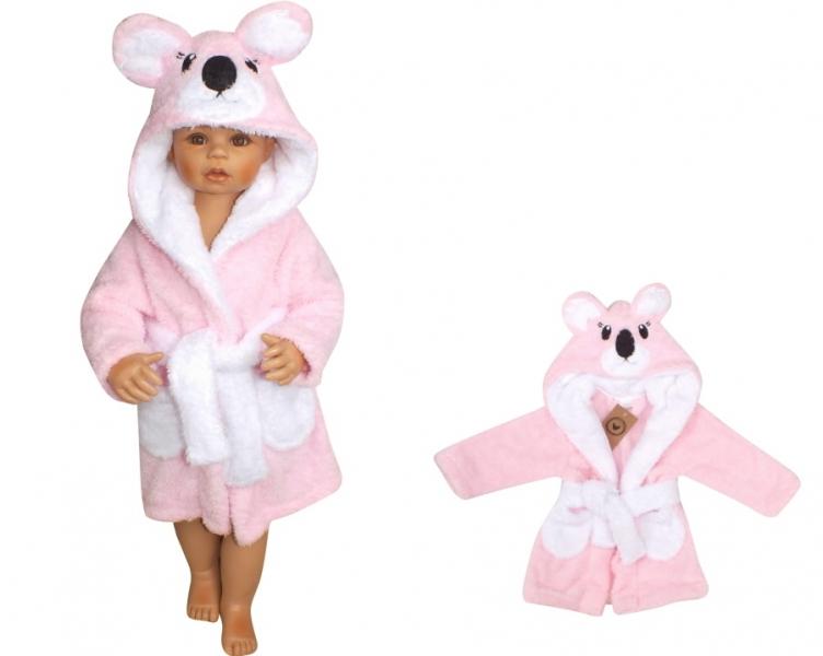 Z&Z Luxusní chlupáčkový župan s kapucí a páskem, Koala - růžová