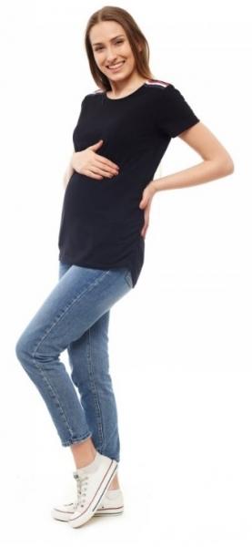 Be MaaMaa Těhotenské triko, kr. rukáv - černé, vel. L/XL