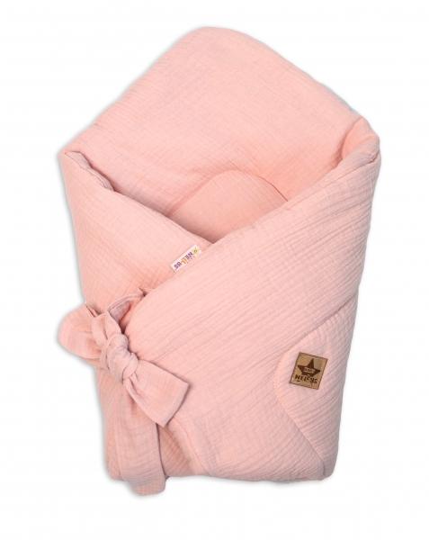Baby Nellys Luxusní mušelínová zavinovačka - růžová, meruňková