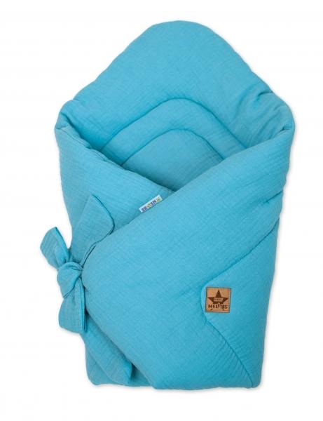 Baby Nellys Luxusní mušelínová zavinovačka - modrá