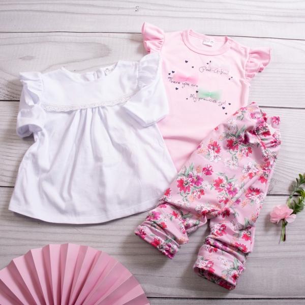 K-Baby 3 dílná sada - body s volánkem, tunika a legíny s květy - růžová, vel. 80