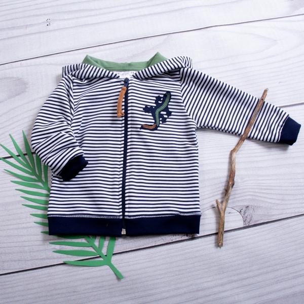 K-Baby Dětská mikina s kapucí Ještěrka Proužek - granát/zelená