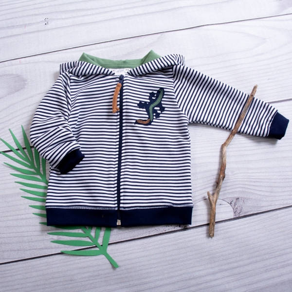 K-Baby Dětská mikina s kapucí Ještěrka Proužek - granát/zelená, vel. 86