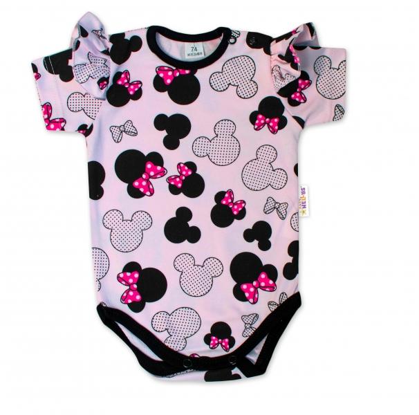 Baby Nellys Kojenecké body kr. rukáv s volánkem Minnie - sv. růžová, vel. 80, Velikost: 80 (9-12m)