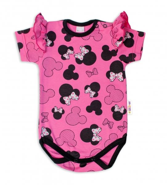 Baby Nellys Kojenecké body kr. rukáv s volánkem Minnie - růžová, Velikost: 74 (6-9m)