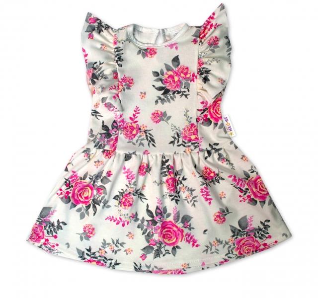 Baby Nellys Letní šaty s krátkým rukávem New Roses - smetanové, vel. 86