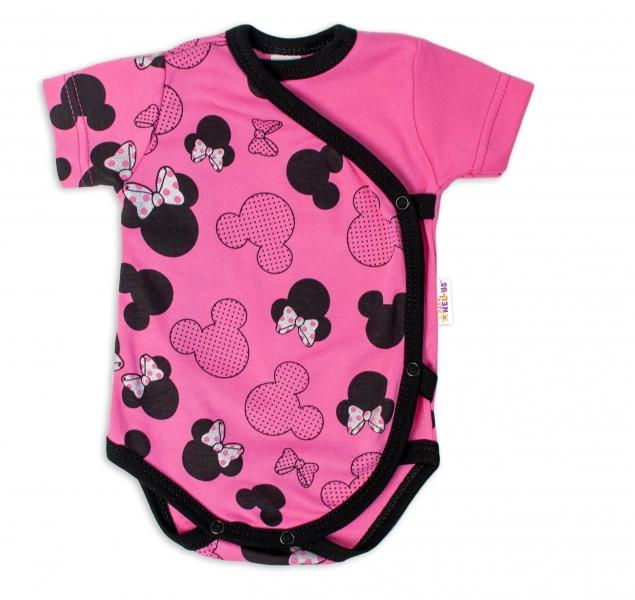 Baby Nellys Kojenecké body kr. rukáv  zap. bokem Minnie - růžová, vel. 62, Velikost: 62 (2-3m)