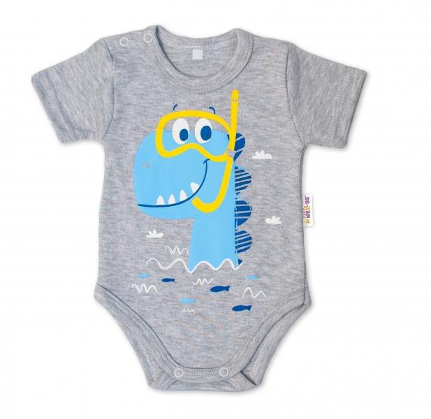 Baby Nellys Bavlněné kojenecké body, kr. rukáv, Drak Eda - šedé, vel. 80, Velikost: 80 (9-12m)