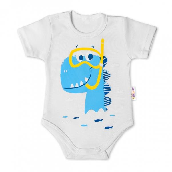 Baby Nellys Bavlněné kojenecké body, kr. rukáv, Drak Eda - bílé, vel. 80, Velikost: 80 (9-12m)