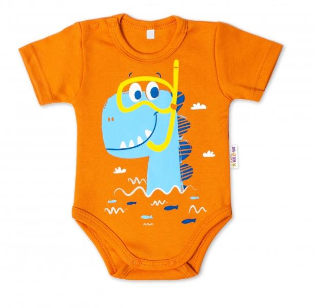 Baby Nellys Bavlněné kojenecké body, kr. rukáv, Drak Eda - cihlová, vel. 74, Velikost: 74 (6-9m)
