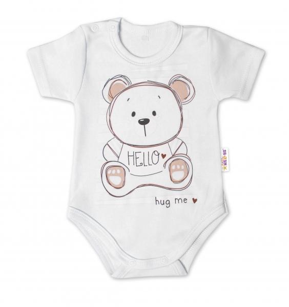Baby Nellys Bavlněné kojenecké body, kr. rukáv, Teddy - bílé, Velikost: 56 (1-2m)