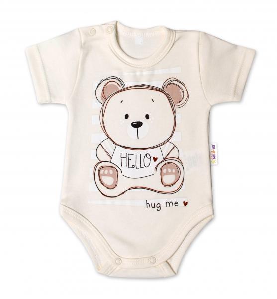 Baby Nellys Bavlněné kojenecké body, kr. rukáv, Teddy - ecru, Velikost: 56 (1-2m)