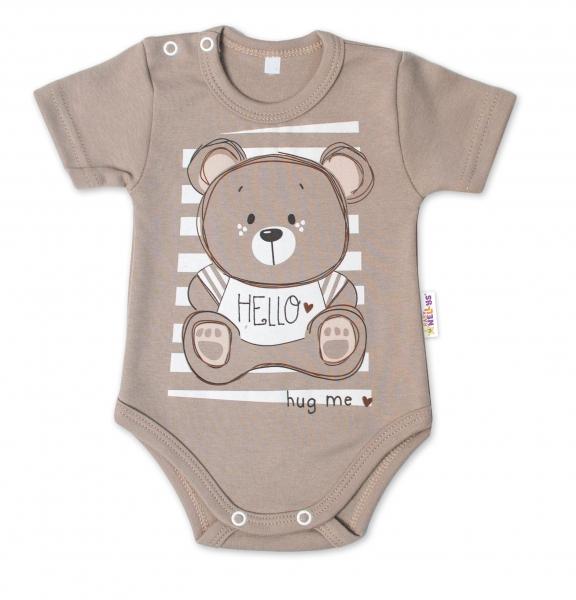 Baby Nellys Bavlněné kojenecké body, kr. rukáv, Teddy - béžová, Velikost: 56 (1-2m)