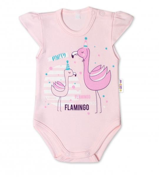 Baby Nellys Bavlněné kojenecké body, kr. rukáv, Flamingo - sv. růžové, Velikost: 56 (1-2m)