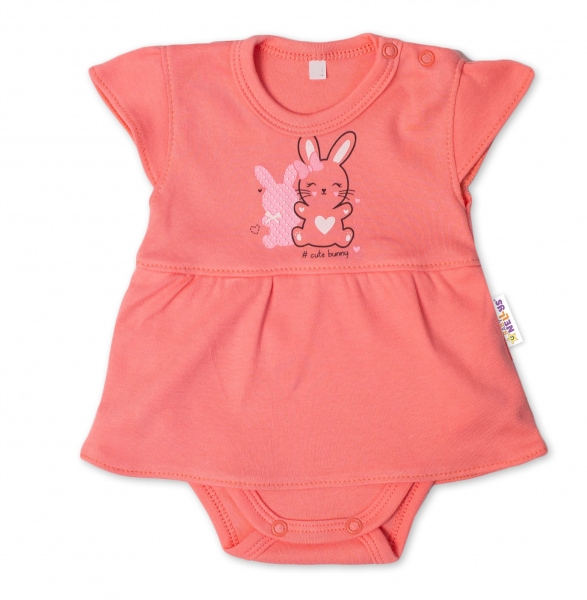 Baby Nellys Bavlněné kojenecké sukničkobody, kr. rukáv, Cute Bunny - lososové, Velikost: 56 (1-2m)