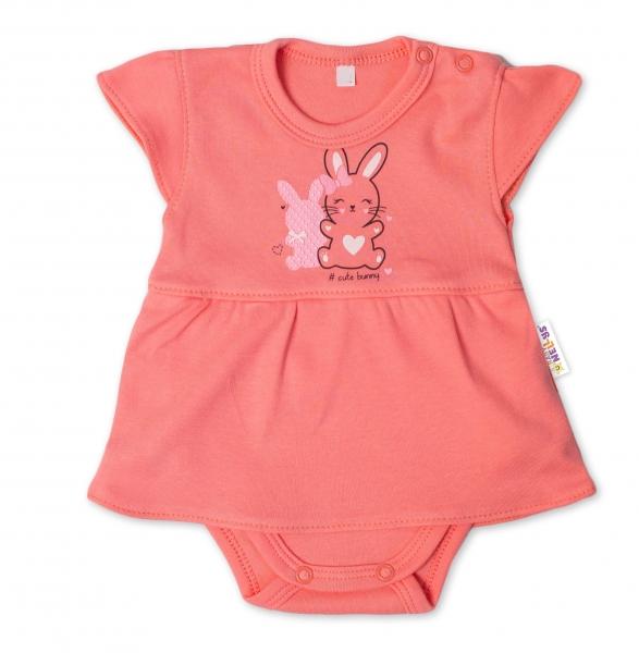 Baby Nellys Bavlněné kojenecké sukničkobody, kr. rukáv, Cute Bunny - lososové, vel. 68, Velikost: 68 (4-6m)