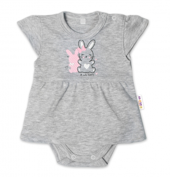 Baby Nellys Bavlněné kojenecké sukničkobody, kr. rukáv, Cute Bunny - šedé, vel. 68, Velikost: 68 (4-6m)