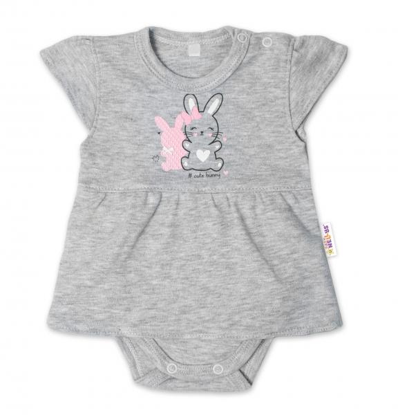 Baby Nellys Bavlněné kojenecké sukničkobody, kr. rukáv, Cute Bunny - šedé, vel. 74