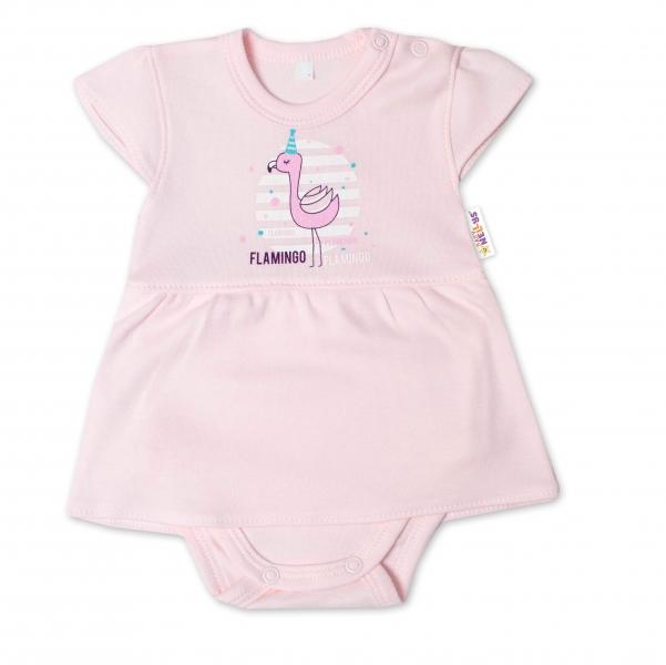 Baby Nellys Bavlněné kojenecké sukničkobody, kr. rukáv, Flamingo - sv. růžové, vel. 74