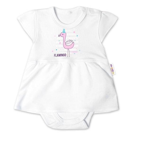 Baby Nellys Bavlněné kojenecké sukničkobody, kr. rukáv, Flamingo - bílé, vel. 86