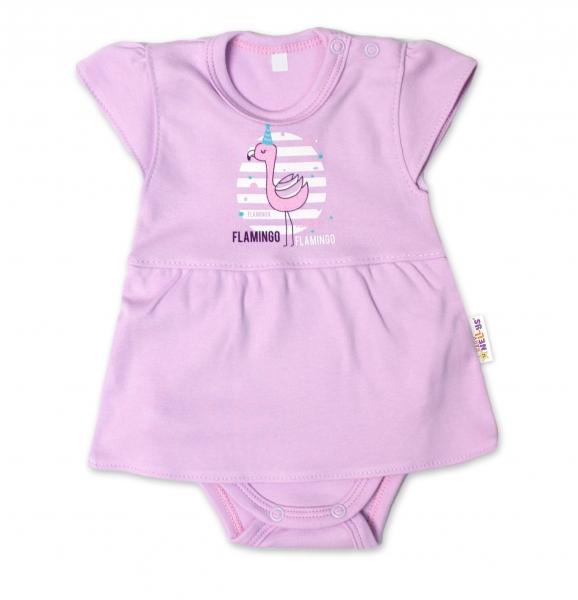 Baby Nellys Bavlněné kojenecké sukničkobody, kr. rukáv, Flamingo - lila, vel. 74