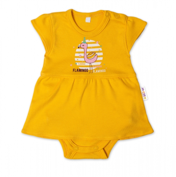 Baby Nellys Bavlněné kojenecké sukničkobody, kr. rukáv, Flamingo - hořčicové, vel. 62