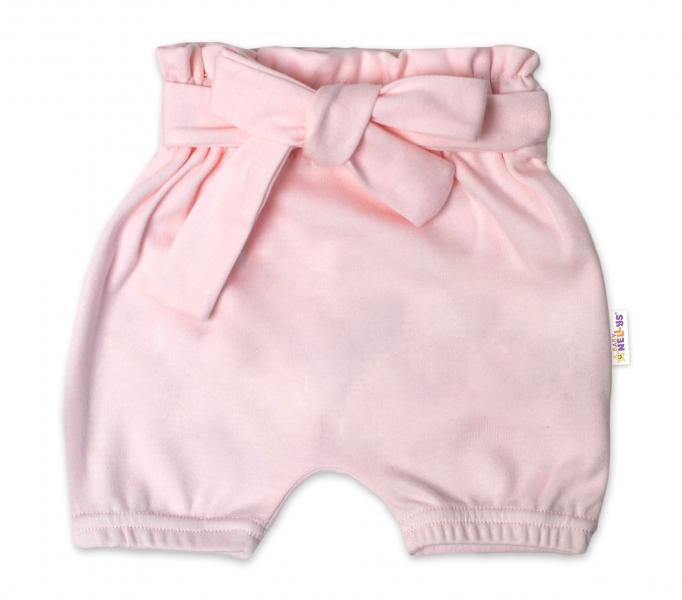 Baby Nellys Bavlněné kraťasy s ozdobným páskem - sv. růžové