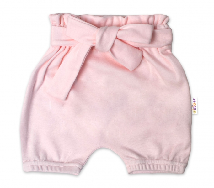 Baby Nellys Bavlněné kraťasy s ozdobným páskem - sv. růžové, vel. 98/104, Velikost: 98/104
