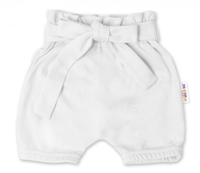 Baby Nellys Bavlněné kraťasy s ozdobným páskem - bílé, vel. 74/80