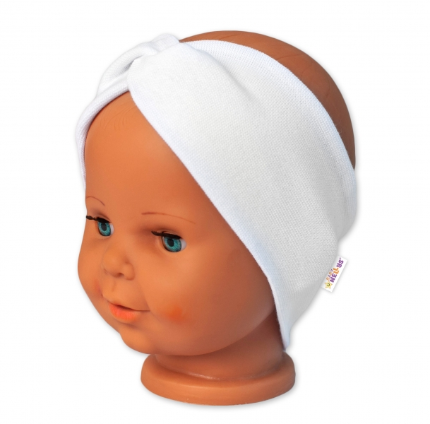 Baby Nellys Bavlněná čelenka dvouvrstvá, bílá, 1-3 roky
