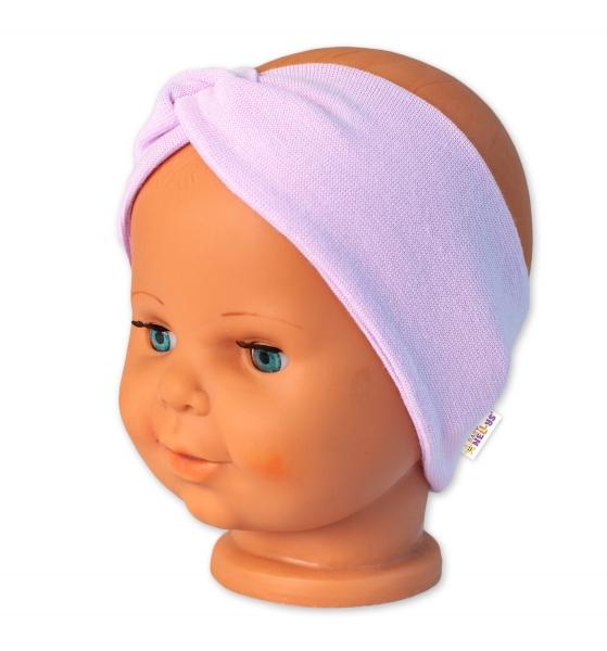 Baby Nellys Bavlněná čelenka dvouvrstvá, lila, vel. 6-9 měsíců