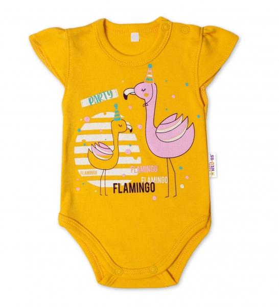 Baby Nellys Bavlněné kojenecké body, kr. rukáv, Flamingo - hořčicové, vel. 80, Velikost: 80 (9-12m)