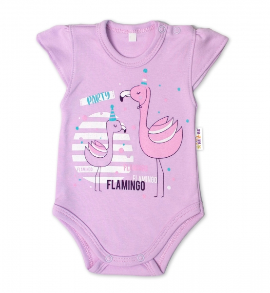 Baby Nellys Bavlněné kojenecké body, kr. rukáv, Flamingo - lila, vel. 68, Velikost: 68 (4-6m)