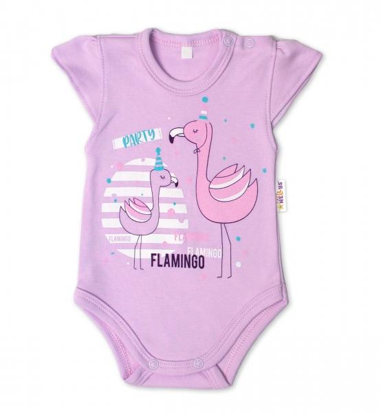 Baby Nellys Bavlněné kojenecké body, kr. rukáv, Flamingo - lila, vel. 80, Velikost: 80 (9-12m)
