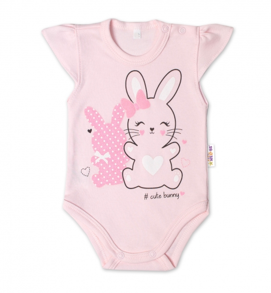 Baby Nellys Bavlněné kojenecké body, kr. rukáv, Cute Bunny - sv. růžová, Velikost: 56 (1-2m)