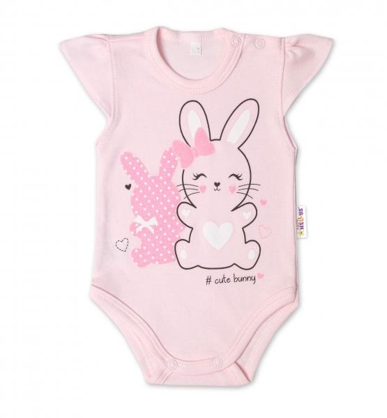Baby Nellys Bavlněné kojenecké body, kr. rukáv, Cute Bunny - sv. růžová, vel. 74, Velikost: 74 (6-9m)