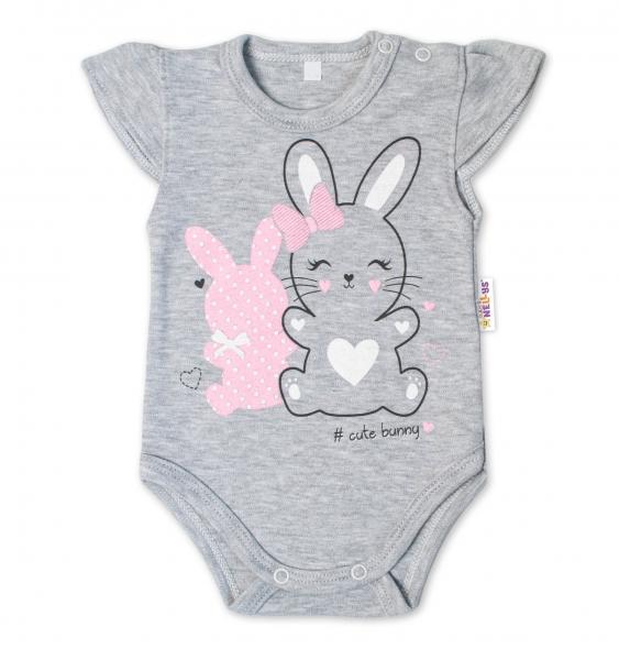 Baby Nellys Bavlněné kojenecké body, kr. rukáv, Cute Bunny - šedé, vel. 62