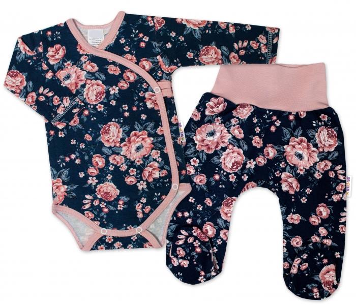 Baby Nellys 2-dílná sada, body dl.rukáv zap. bokem + polodupačky Růžičky, granát, vel. 68