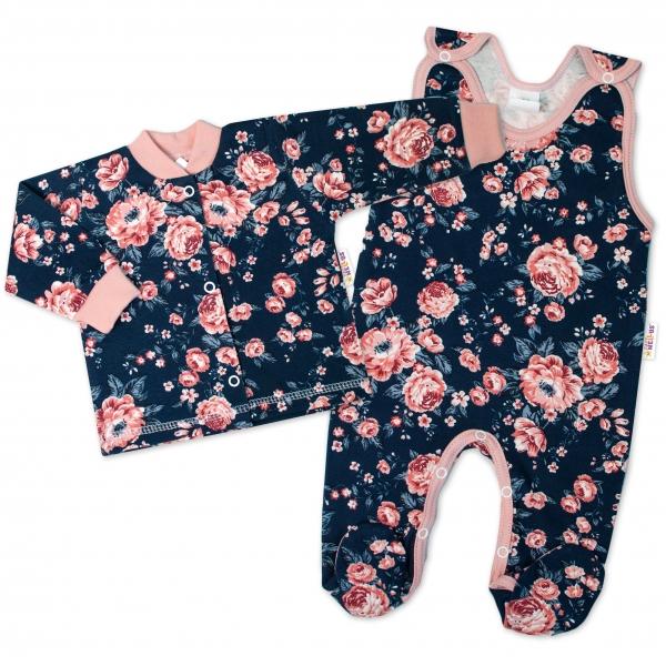 Baby Nellys  2-dílná sada, bavlněné dupačky s košilkou Růžičky, granát, vel. 56