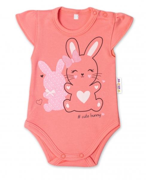 Baby Nellys Bavlněné kojenecké body, kr. rukáv, Cute Bunny - lososové, vel. 80