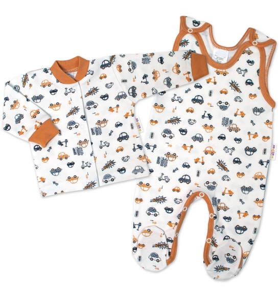 Baby Nellys  2-dílná sada, bavlněné dupačky s košilkou Car, smetanové, vel. 56