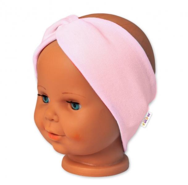 Baby Nellys Bavlněná čelenka dvouvrstvá, sv. růžová, vel. 6-9 měsíců