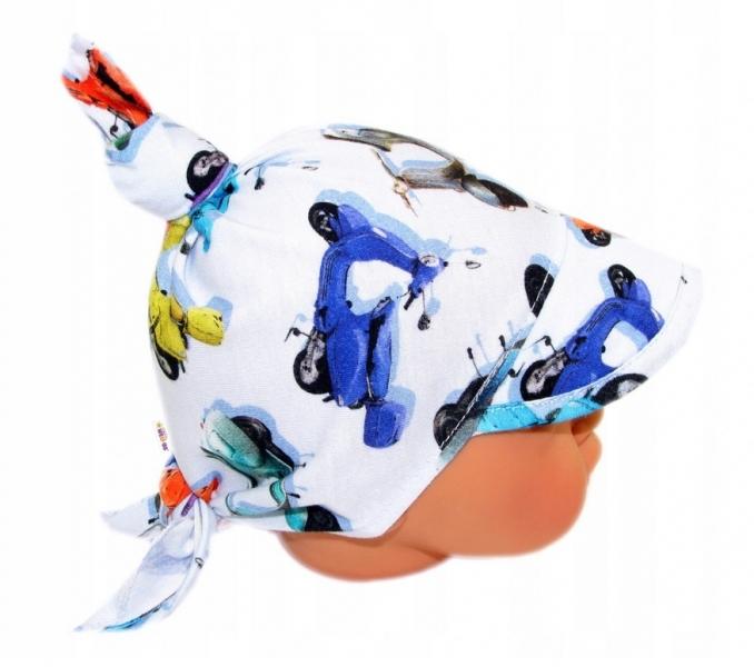 Baby Nellys Dětský bavlněný šátek s kšiltem na zavazování, motorky - modrá, Velikost: univerzální