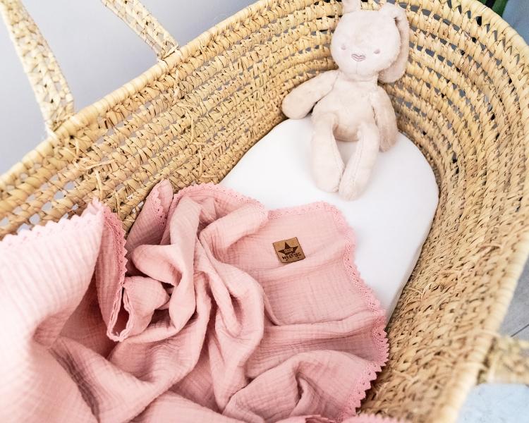 Baby Nellys Luxusní dvouvrstvá mušelínová dětská deka, 75 x 100 cm, pudrová, meruňková