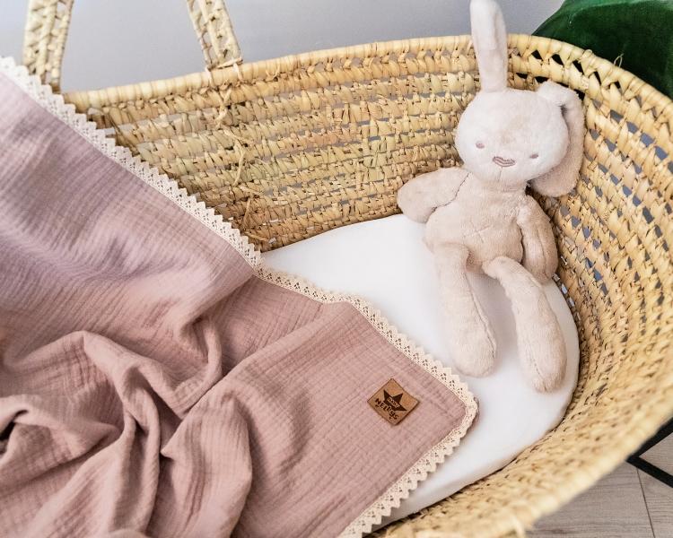 Baby Nellys Luxusní dvouvrstvá mušelínová dětská deka, 75 x 100 cm, cappuccino, béžová